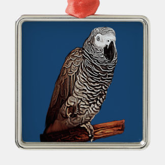 African Grey Parrot Silver-Colored Square Decoration
