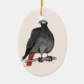 african grey parrot, tony fernandes ceramic oval decoration