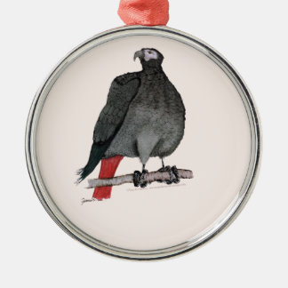 african grey parrot, tony fernandes Silver-Colored round decoration