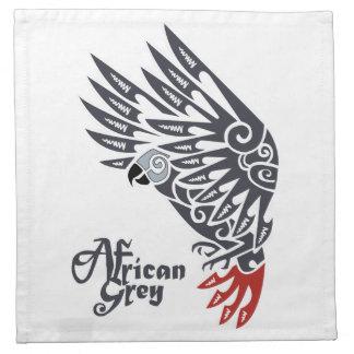 African grey parrot tribal tattoo napkin