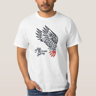 African grey parrot tribal tattoo tshirts