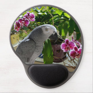 African Grey Parrot with Orchids Gel Mouse Mat