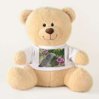 African Grey Parrot with Orchids Teddy Bear