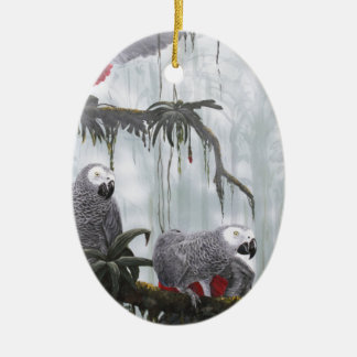 African Grey Parrots flying free Ceramic Oval Decoration