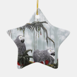 African Grey Parrots flying free Christmas Ornament