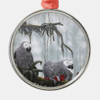 African Grey Parrots flying free Silver-Colored Round Decoration