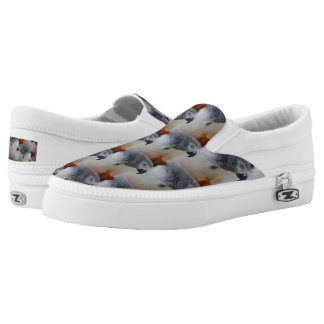 African Grey Pattern Printed Shoes