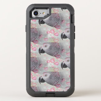 African Grey Puffy Hearts OtterBox Defender iPhone 7 Case