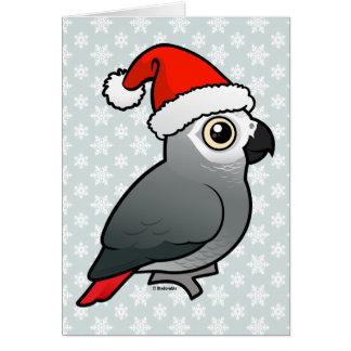 African Grey Santa Card