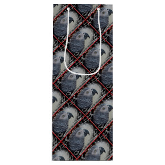 African Grey Snowy Christmas Wine Gift Bag