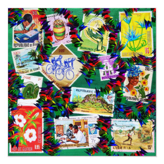 AFRICAN HERITAGE / COLORFUL & MEANINGFUL DESIGN 13 CM X 13 CM SQUARE INVITATION CARD