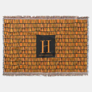 African Inspired Orange Domino Pattern Monogram Throw Blanket