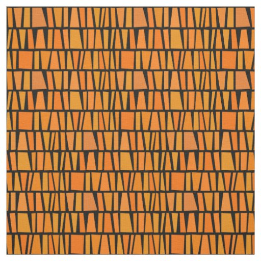 African Inspired Orange Domino Tribal Pattern Fabric