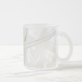African Iris Frosted Glass Mug