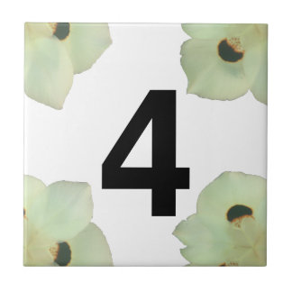 African Iris House Number Small Square Tile