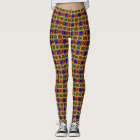 African Kente Cloth Print Stained Glass Pattern Leggings