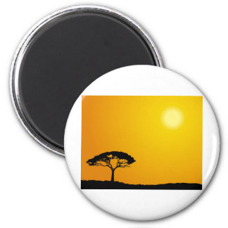 African Landscape 6 Cm Round Magnet