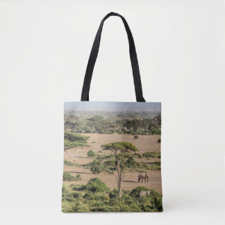African Landscape with Elephant Tote Bag