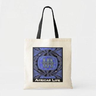 African life _ 3 ladies tribal statue, blue tote bag