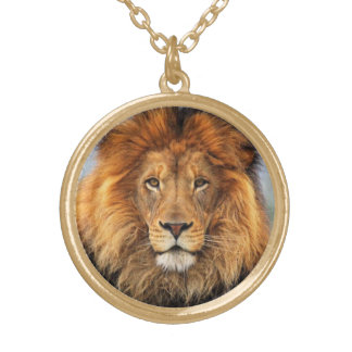 African Lion Gold Plated Necklace
