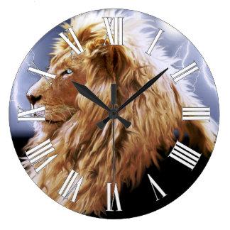 African Lion & Lightning Big Cat-Lover Wall Clock