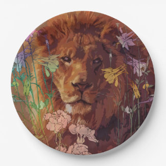 """African lion Paper Plates 9"""""""
