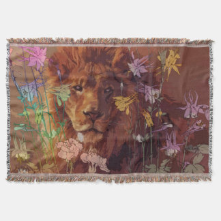 African lion Throw Blanket