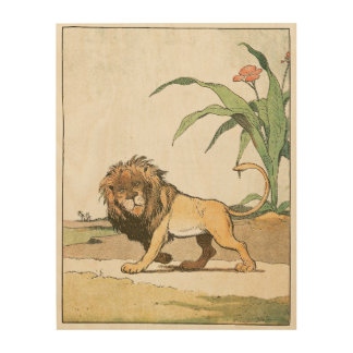 African Lion with Bushy Mane Wood Print