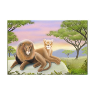 African Lions on the Savannah Wrapped Canvas Gallery Wrapped Canvas