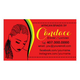 African Loctician Hair Braider Salon Business Card