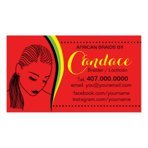 African Loctician Hair Braider Salon Business Card Business Cards