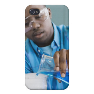African man performing experiment in chemistry iPhone 4/4S cases