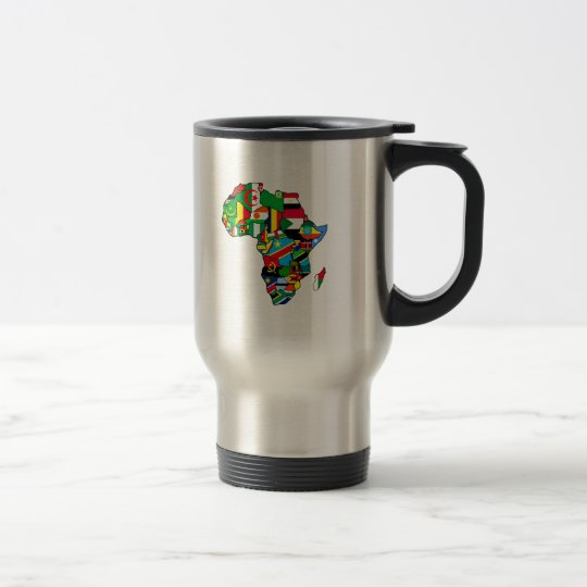 African Map of Africa flags within country maps Travel Mug