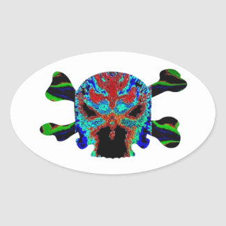 AFRICAN Mascot : Skulls Human n Monsters Oval Sticker