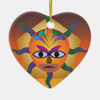 African Mask Ceramic Heart Decoration