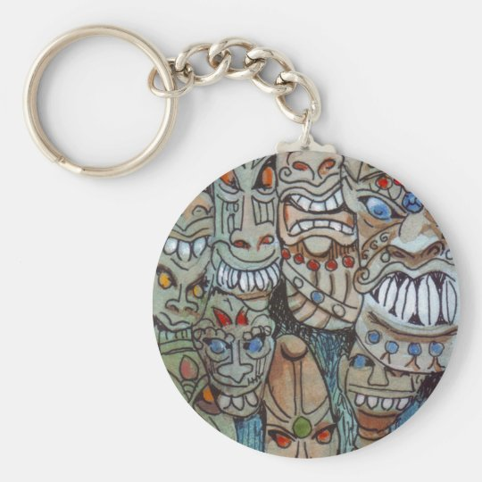 African mask keychain