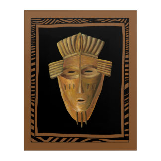 African Mask Painting by Chariklia Zarris Acrylic Print