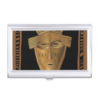 African Mask Painting by Chariklia Zarris Business Card Holder