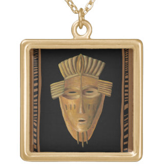 African Mask Painting by Chariklia Zarris Gold Plated Necklace