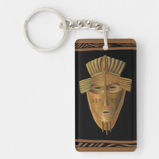 African Mask Painting by Chariklia Zarris Key Ring