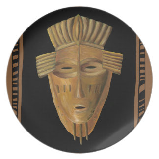 African Mask Painting by Chariklia Zarris Plate