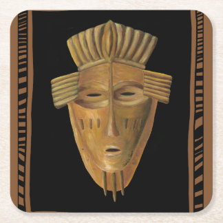 African Mask Painting by Chariklia Zarris Square Paper Coaster