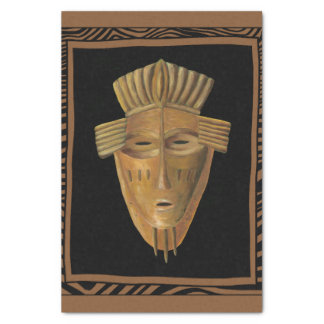 African Mask Painting by Chariklia Zarris Tissue Paper