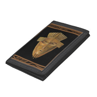 African Mask Painting by Chariklia Zarris Trifold Wallet