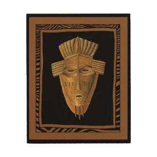 African Mask Painting by Chariklia Zarris Wood Wall Decor