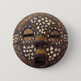 African mask with cowrie shells 6 cm round badge