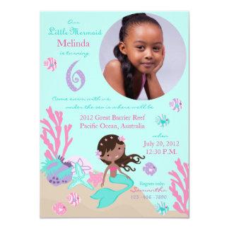 African Mermaid Sixth Birthday Invitation