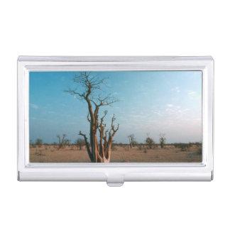 African Moringo Tree On Plain, Etosha National Business Card Holder
