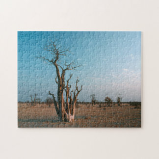 African Moringo Tree On Plain, Etosha National Jigsaw Puzzle