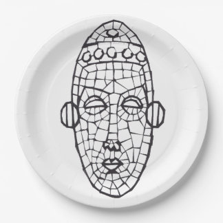 African mosaic mask party plate